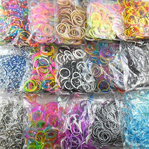 Lagiwa Offre Nouveau Lot de 15 sachets de Recharge Assortis et différents (3000 élastiques en Tout) pour Bracelet ou Collier Loom Bands + 1 sachets de Charms Offert