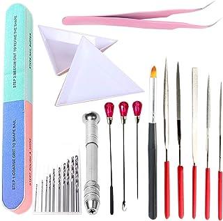 フェリモア UVレジン 基本道具セット スターターキット ドリル ピンセット やすり 刷毛 攪拌器 (14点セット)