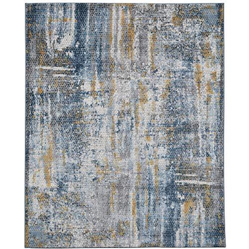 Cairo Moderner Teppich, abstrakt, Blau/Gold, 61 x 91 cm