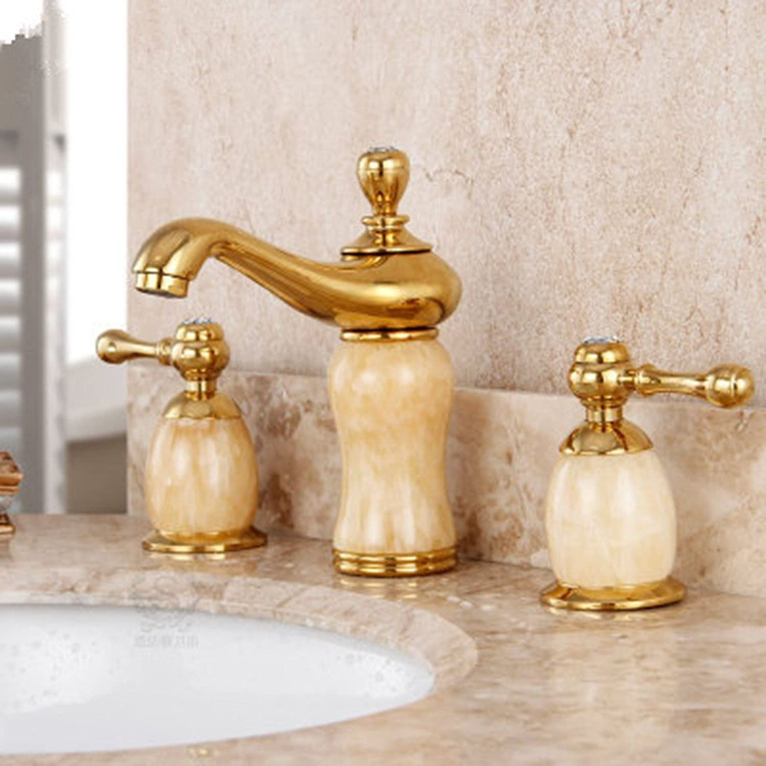 LHbox Basin Mixer Tap Bathroom Sink Faucet All three holes in the european copper hot and cold water faucet marble basin, B