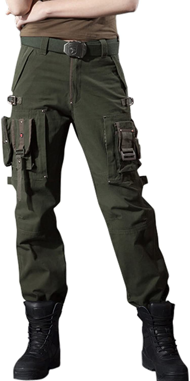 Chouyatou Women's Stylish Military MultiPockets Wild Cargo Pants