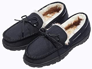 CareBey Mens Indoor Outdoor Comfortable Warm Moccasin Slippers with Anti Slip Rubber Sole Driving Loafer Slip