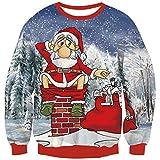 Goodstoworld 3D Ugly Christmas Pullover Fun Femme Homme Drole Xmas Cat Elf Imprimé Noel Pull Costume