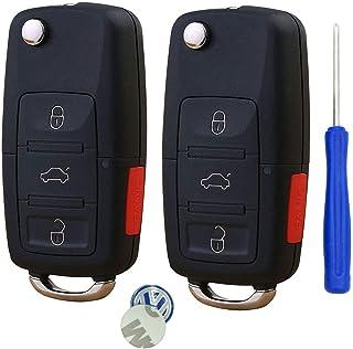 New Uncut blade Keyless Remote Key Fob Shell Case No Chips Inside for VW Volkswagen Jetta Passat Golf Beetle Rabbit GTI CC EOS (Black Pack 2)