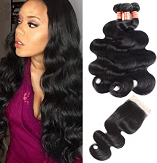 Simei 8A Brazilian Body Wave 3 Bundles with Closure 100% Unprocessed Human Virgin Hair Weave With Free Part Lace Closure Brazilian Virgin Hair Body Wave Hair Extensions(14 16 18+12