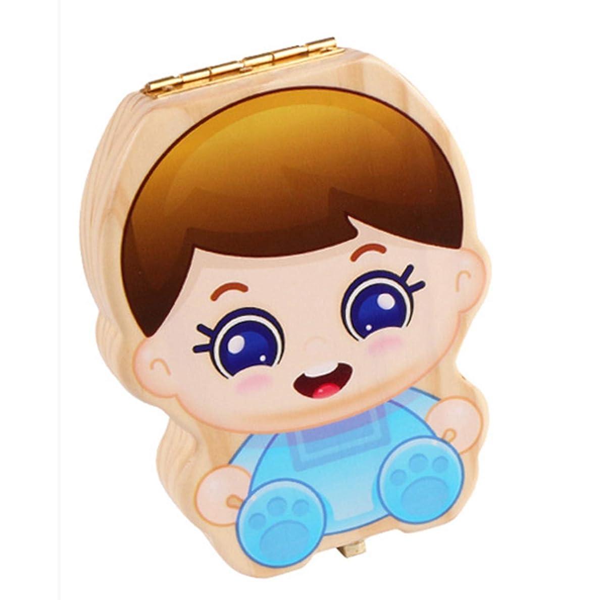 レビュアーハンサム注入するXigeapg 赤ちゃんの歯ボックス キッズオーガナイザー 乳歯収納 木製赤ちゃんの歯ボックス 男の子の女の子のために 歯臍帯保存、ブルー