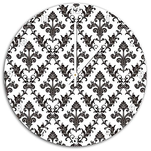 Modèles fleurs françaises Noir, horloge murale diamètre 48 cm avec aiguilles et cadran pointus blancs, article décoratif, horloge design, composite alu très belle pour le séjour, la chambre d'enfant, le bureau