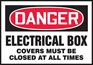 """Accuform LELC011XVE Adhesive Dura-Vinyl Safety Label, Legend""""DANGER ELECTRICAL BOX COVERS MUST BE CLOSED AT ALL TIMES"""", 3.5"""" Length x 5"""" Width x 0.006"""" Thickness, Red/Black on White"""