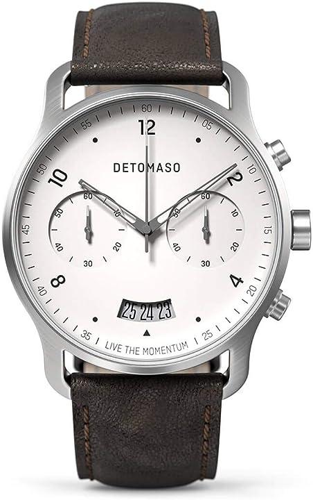Detomaso sorpasso cronografo silver white orologio da polso da uomo cinturino in pelle marrone italiano D02-10-02