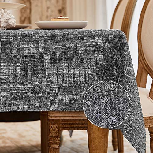 Balcony&Falcon Tischdecke Leinenoptik tischdecke abwaschbar Tischtuch Leinen Tischläufer Tischwäsche Eckig Wasserdicht Tischdecke Grau 140 x180