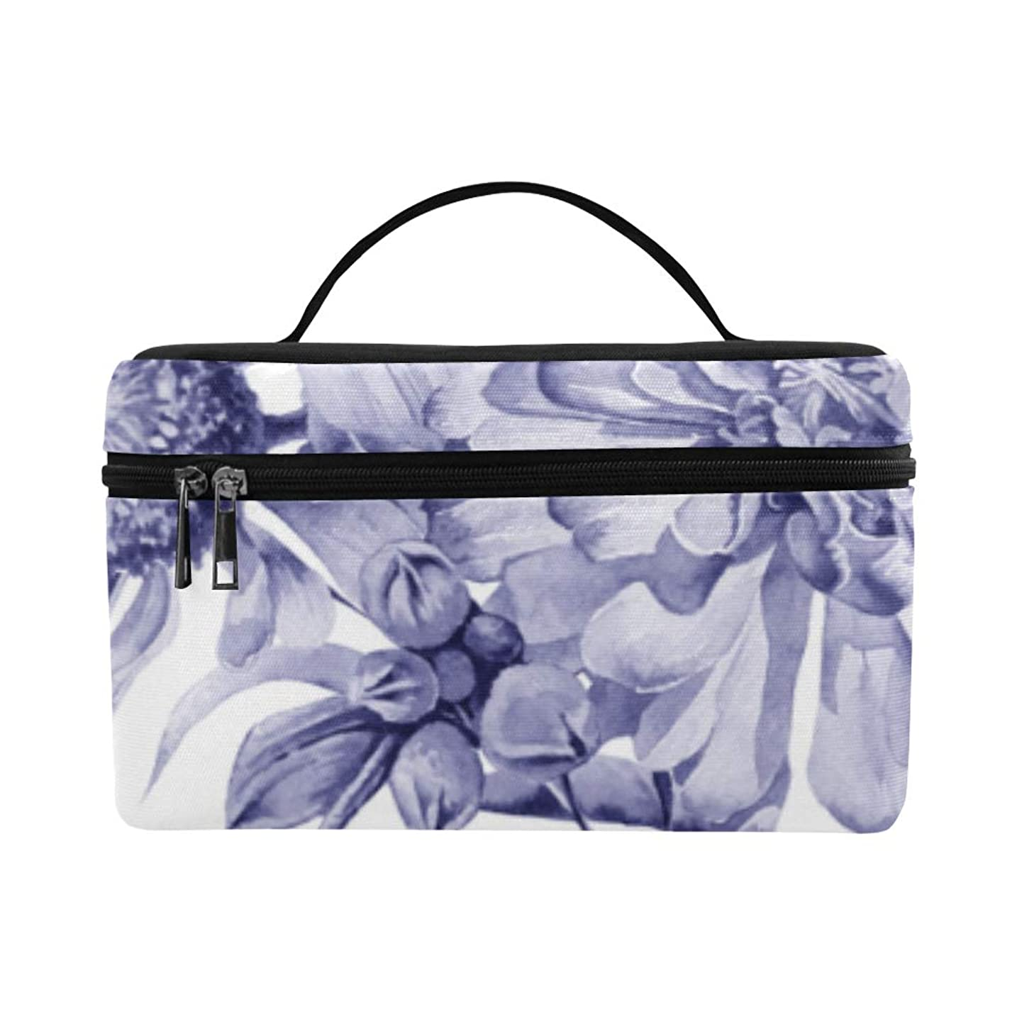 シルエット称賛眼KWESG メイクボックス 紫色の花 コスメ収納 化粧品収納ケース 大容量 収納ボックス 化粧品入れ 化粧バッグ 旅行用 メイクブラシバッグ 化粧箱 持ち運び便利 プロ用