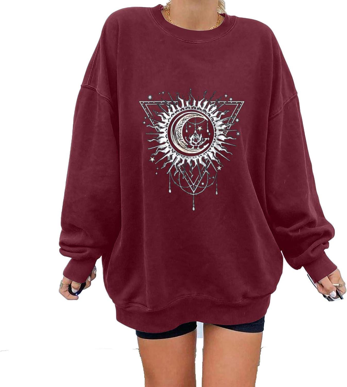 Womens Crew Neck Sweatshirt Long Sleeve Pullover Tops Plus Size Warm Shirts Retro Sun and Moon Print Blouse