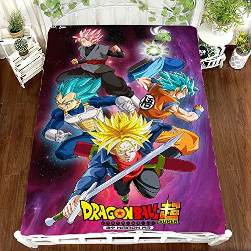 Dibujos Animados Dragon Ball impresión Juego de sábanas Microfibra Sin Arrugas hipoalergénico 1- Pieza Sábana Ajustable para niños Chico Modelo Y Adolescentes,Twin