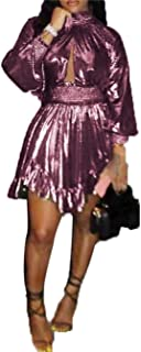 Women's Sexy V Neck Long Sleeve Bodycon Jumpsuit Snake Skin Bodysuit Shorts Romper Party Clubwear Plus Size