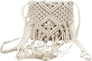 Van Caro Women Crochet Beach Bag Fringed Crossbody Purse Cotton Pouch