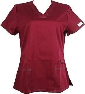 UNIBLANCH Medical Uniform Women's V Neck Tunic 2 Pockets CVC Hospital Nurse Scrub Top