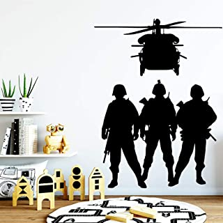 WSYYW Flying Soldier Wall Sticker House Decoration Construction Living Children's Room Wallpaper Vinyl Applique Gray L 42cm X 55cm
