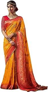 YELLOW Indian Woman Wedding Swarovski Pallu Saree Pure Soft Silk Bandhej Weaving Bridal Bandhani Sari Blouse 6246 2