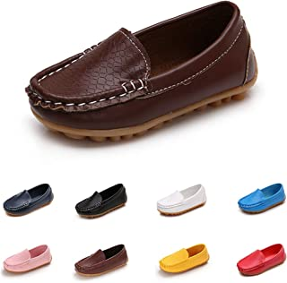 Toddler Boys Girls Loafer Shoes Soft Synthetic Leather Slip On Moccasin Flat Boat Dress Shoes(Toddler/Little Kid/Big Kid)