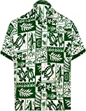 LA LEELA Casual Hawaiana Camisa para Hombre Señores Manga Corta Bolsillo Delantero Vacaciones Verano Hawaiian Shirt 3XL-(in cms):152-162 Ghosts Blanco_W126