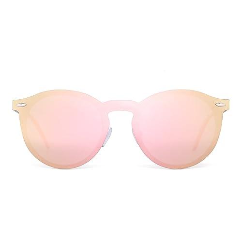 8df1a111063d Polarizes Rimless Sunglasses One Piece Reflective Round Mirror Glasses Men  Women (Gold/Polarized Pink
