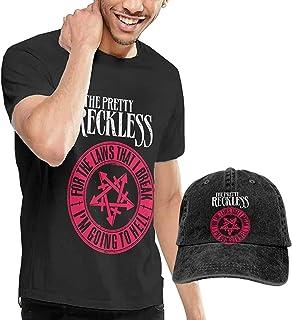 The Pretty Reckless T-Shirt Camisa Ligera de Manga Corta con Cuello Redondo y Gorra de Vaquero para Hombre