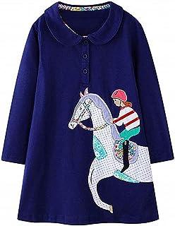 فستان كاجوال للشتاء للفتيات من HILEELANG فستان عيد الميلاد طويل الأكمام من القطن مزين برسوم كرتونية شريط قميص للحفلات