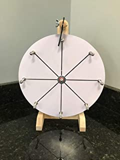 YDL Woodwell 12 Inch Mini Prize Wheel Game with 8 Segment Dry Erase Wood Design for Fortune Raffle Spin Game DIY Editable Markers and Eraser Included
