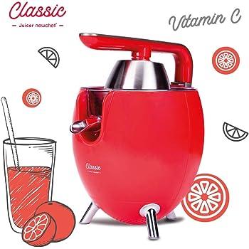 NEW CHEF - Exprimidor Zumo Eléctrico Juicer Classic Rojo para Naranjas y Cítricos, 300W con Doble Cono, Sist. Antigoteo y ON/OFF Automático. Máquina Exprimidora de Zumo Desmontable y de Fácil Limpieza: Amazon.es: