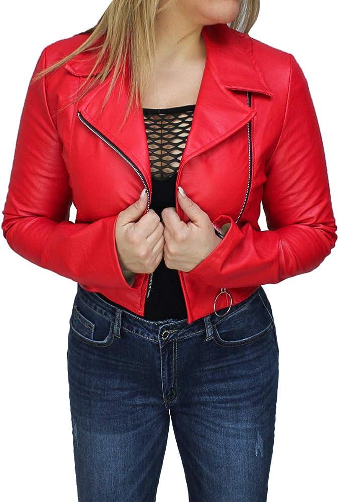 Evoga,giubbotto ,giacca per donna in eco pelle, corto, giubbino chiodo casual