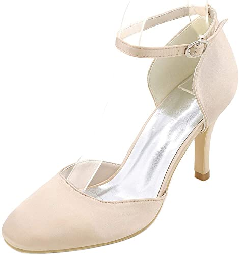Ladies Round Toe Strappy Sandals Satin Wedding High Heel Sexy Rivet,Champagne,38