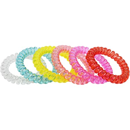Sensory Stretchy Kids Bracelets, 6 Pack Funny Speech and Communication Aid Coil Toys for Boys Girls with Autism ADHD Fidget Anxiety or Special Needs - Assorted Colors (Light Color)