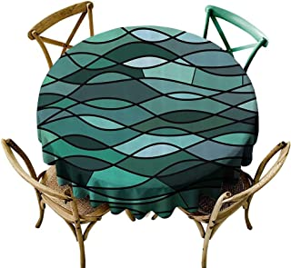 Mannwarehouse Teal Oil-Proof and Leak-Proof Tablecloth Abstract Mosaic Waves Ocean Inspired Expressionist Pattern Marine Design Image Easy Care D67 Dark Green Aqua