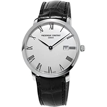 Frederique Constant Men's Slimline Stainless Steel Automatic-self-Wind Watch with Leather Calfskin Strap, Black, 20 (Model: FC-306MR4S6)