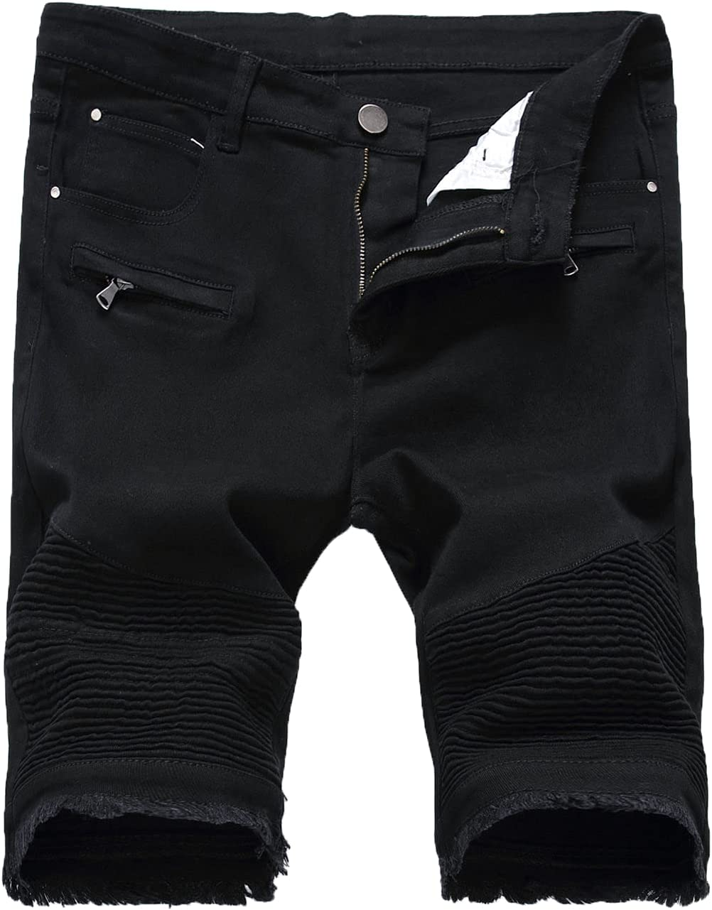 Men's Pleated Denim Shorts Zipper Crumple Ripped Slim Jean Short Distressed Casual Slim Fit Biker Jeans Shorts (Black1,30)