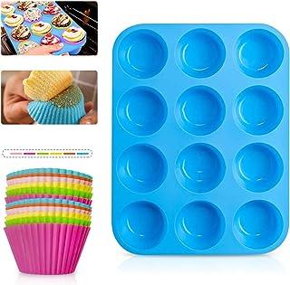 Vockvic Moules à Muffins Réutilisables, 12 Pièces Moules de Cuisson en Silicone Qualité Alimentaire, Moulle à Cupcakes Min...