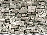 Zanderino ab 1m: Schöner Dekostoff, Mauer, grau, 140cm