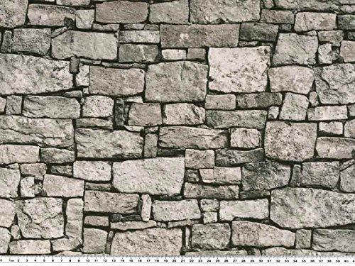 Zanderino ab 1m: Schöner Dekostoff, Mauer, grau, 140cm breit