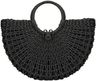 Natural Chic Straw Bag Hand Woven Round Handle Handbags Retro Summer Beach Bag Beach Bag