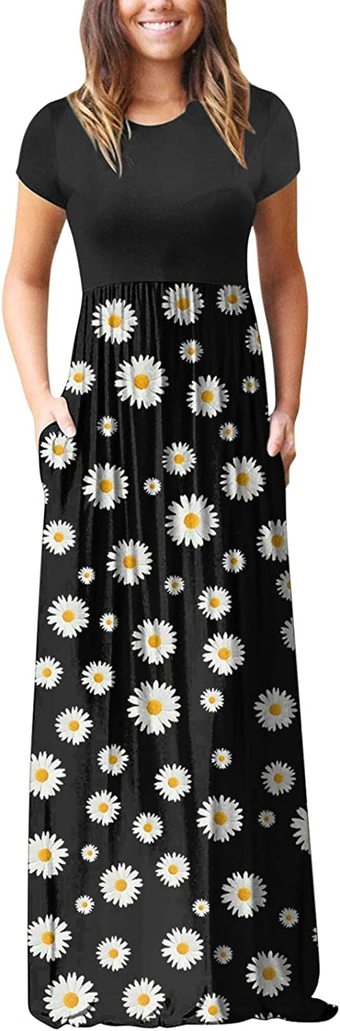 Aniwood Summer Dresses for Women, Women's Short Sleeve Loose Ruffled Tunic Maxi Dresses Casual Long Dresses with Pockets