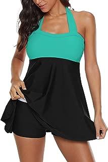 Zando Women's Slimming Tummy Control Swimdress Swimwear Long Torso Tankini Swimsuit Retro Skirt Swimming Suit for Women