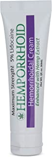 HEMPORRHOID 5% Lidocaine Maximum Strength with Hemp Oil - Hemorrhoid Ointment Cream Topical Numbing - 1OZ - for Sections, ...