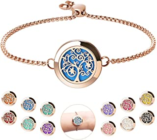Aromatherapy Essential Oil Diffuser Bracelet - ttstar Rose Gold Stainless Steel Adjustable Women Jewelry Diffuser Bracelet with 24 Refill Pads Gift Se