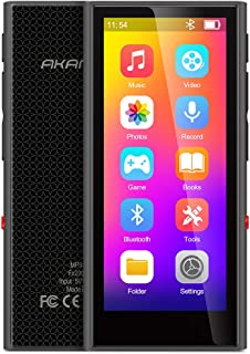 """AKAMATE Mp3 Player, Music Player with Bluetooth 5.0, 3.5"""" Full Touchscreen, 8GB Player with 1080P HD Video, One Click Recording, Built-in Speaker, HiFi Lossless Sound, E-Book, Support up to 128GB"""