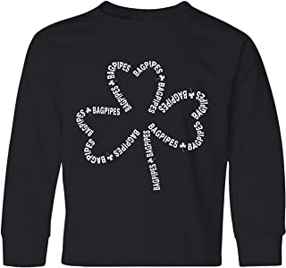 inktastic Bagpipes White Text Shamrock Youth Long Sleeve T-Shirt