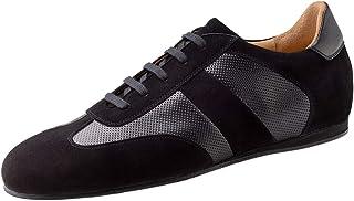 Werner Kern 28061 - Zapatillas de baile para hombre, piel de ante negra, normal, tacón de 1 cm, fabricadas en Italia