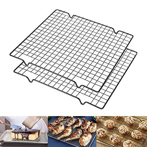 Estante de enfriamiento de acero inoxidable 100% apto para sartenes de cuarto de – se puede utilizar para cocinar y barbacoa y secar, diseño de malla gruesa antiadherente, 2...