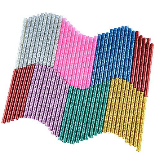 KUUQA 70 Pcs Glitter Hot Melt Kleber Heißklebepatronen Heißklebesticks Kleber Sticks Universal Heißklebestifte für DIY Kunst Handwerk 7 x 100mm (7 Farben)