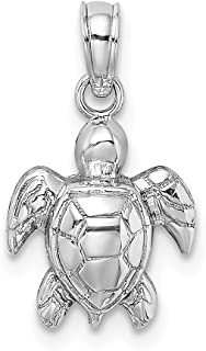 14K White Gold 2-D Textured MINI SEA TURTLE Charm Fine Jewelry Gift for Women