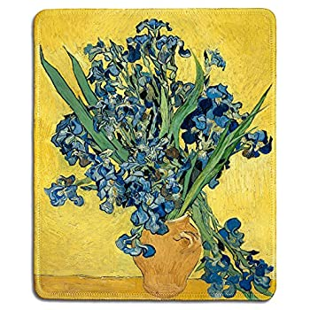 dealzEpic - Art Mousepad - Natural Rubber Mouse Pad with Famous Fine Art Painting of Irises by Vincent Van Gogh - Stitched Edges - 9.5x7.9 inches
